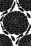 Vector seamless pattern with  flowers silhouettes on white background.  Stock Image