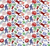Vector seamless pattern with flowers soccer players and balls. Vector seamless pattern with flowers, soccer players and balls, transparent background Royalty Free Stock Photos