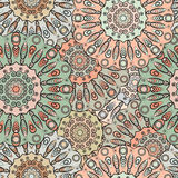 Vector seamless pattern with flowery mandalas print made in oriental style. Vector seamless pattern with flowery mandalas print made in oriental style Stock Images