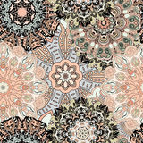 Vector seamless pattern with flowery mandalas print made in oriental style. Vintage designed background Stock Image