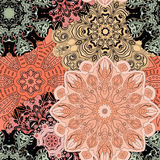 Vector seamless pattern with flowery mandalas print made in oriental style. Wrapper, textile, background or front-side Royalty Free Stock Photos