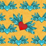 Vector seamless pattern with flying hearts Stock Photos