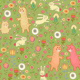 Vector seamless pattern with forest animals Royalty Free Stock Photos
