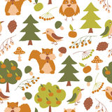 Vector seamless pattern with forest flora and fauna. Vector seamless pattern with cute forest flora and fauna. Isolated on white background. Autumn design with Royalty Free Stock Photo