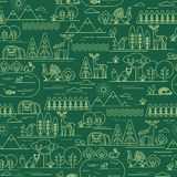 Vector seamless pattern with forest flora and fauna. Stock Images