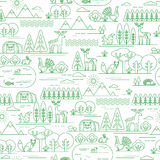 Vector seamless pattern with forest flora and fauna. Royalty Free Stock Images