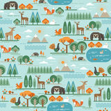 Vector seamless pattern with forest flora and fauna. Royalty Free Stock Photography