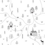Vector seamless pattern with forest houses Royalty Free Stock Images