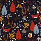Vector seamless pattern with forest plants, birds, and foxes. Autumn background Stock Images