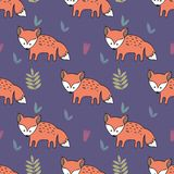 Vector seamless pattern with foxes. Decorative background for design of a children`s room and clothes. Vector seamless pattern with foxes. Decorative background Royalty Free Stock Photo
