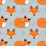 Vector seamless pattern with foxes. Seamless pattern with dreaming foxes Royalty Free Stock Image