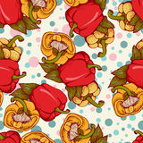 Vector seamless pattern with fresh colored yellow, red, orange s Stock Image
