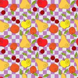 Vector seamless pattern - fresh summer fruits. Hand drawn apple, cherry, pear in line art style, elements for your design Stock Images
