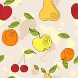 Vector seamless pattern - fresh summer fruits. Hand drawn apple, cherry, pear in line art style, elements for your design Royalty Free Stock Images