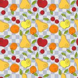 Vector seamless pattern - fresh summer fruits. Hand drawn apple, cherry, pear in line art style, elements for your design Stock Photography