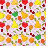 Vector seamless pattern - fresh summer fruits. Hand drawn apple, cherry, pear in line art style, elements for your design Royalty Free Stock Image