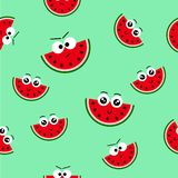 Vector seamless pattern with fresh summer watermelon-emoticon, Endless texture for web, covers, banners, decoration, bright light. Vector seamless pattern with royalty free illustration
