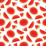Vector seamless pattern of fresh watermelon slices in color Royalty Free Stock Photography