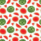 Vector seamless pattern of fresh watermelon slices and whole watermelon in colour Stock Photo