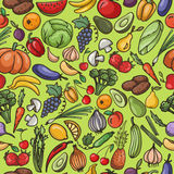 Vector seamless pattern of fruit and vegetable , pumpkin, apple, Stock Photography