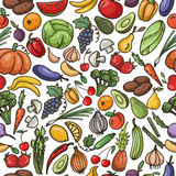 Vector seamless pattern of fruit and vegetable , pumpkin, apple, Royalty Free Stock Images