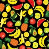 Vector seamless pattern with fruits: avocado, watermelon, banana, lemon, pomegranate, apple, pear, pineapple Royalty Free Stock Photography