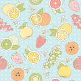 Vector seamless pattern with fruits and berries Stock Photos