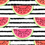 Vector seamless pattern with fruits. Colorful hand drawn background. royalty free illustration