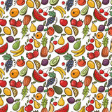 Vector seamless pattern with fruits , fruit background Stock Image
