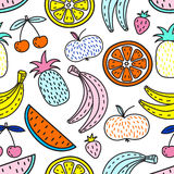 Vector seamless pattern of Fruits. Summer mood Stock Photo