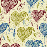 Vector Seamless Pattern with Funky Bright Hearts and Feathers Royalty Free Stock Photos