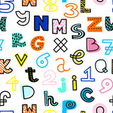 Vector seamless pattern with funky, hand drawn alphabet and numbers. Bright colors Stock Photography
