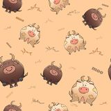 Vector seamless pattern with funny animal. Cute fat cow and severe bull. Thick amusing beasts. Texture on beige background. stock illustration