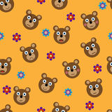 Vector seamless pattern with funny bears. And flowers. Design element. Illustration can be used as a print fabric, wrapping paper, screen saver for web site Stock Image