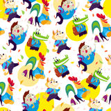 Vector seamless pattern with funny cartoon animal students isolated on white background Royalty Free Stock Photo