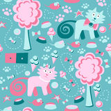 Vector seamless pattern. Funny Children`s background. Multi-colored cats, trees, mouse, and ice cream. Royalty Free Stock Photos