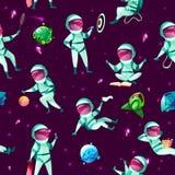 Vector cartoon spacemen cosmic seamless pattern stock illustration