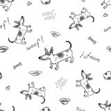 The vector seamless pattern with funny dog. Jack russell terrier. Royalty Free Stock Image