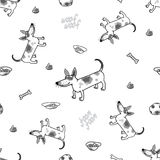The vector seamless pattern with funny dog. The vector picture. EPS 8 Stock Images