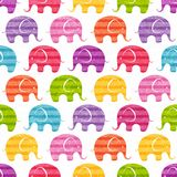 Vector seamless pattern with funny  elephants Stock Photos