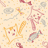 Vector seamless pattern funny kittens and fish Royalty Free Stock Image