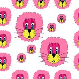 Pattern with funny lions stock illustration