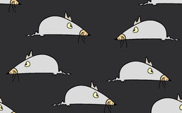 Vector seamless pattern with funny mice on grey background Stock Photography