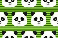Vector seamless pattern funny panda on green stripes background Stock Photos