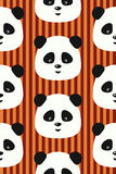 Vector seamless pattern funny panda on red stripes background Royalty Free Stock Images