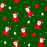 Vector seamless pattern with funny Santa Clause, presents and fir tree Stock Image