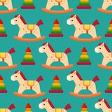 Funny wood horse colors pony wallpaper vector seamless pattern backgrounds textile industry children playroom decoration Stock Photo
