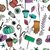 Vector seamless pattern with garden elements Stock Image