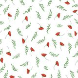 Vector seamless pattern of garden flowers and herbs. Hand drawn cartoon style repeat background. Cute summer or spring endless vector illustration