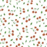 Vector seamless pattern of garden flowers and herbs. Hand drawn cartoon style repeat background. Cute summer or spring endless royalty free illustration